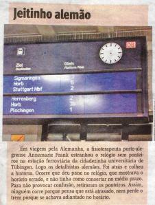 """Die Tübinger Bahnhofsuhr. Quelle: """"Jornal do Comércio"""", Porto Alegre, Brasilien"""