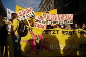 Studierende beim Bildungsstreik 2009. Fotoquelle: FSVV/ [Name]