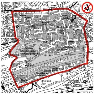 Böller-Verbotszone in der Tübinger Altstadt - Quelle: Stadt Tübingen